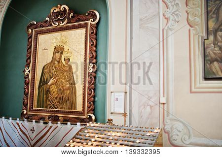 Mykykyntsi, Ukraine - Circa June, 2016: Image Icon Of The Mother Of God Mary And Child Jesus Christ