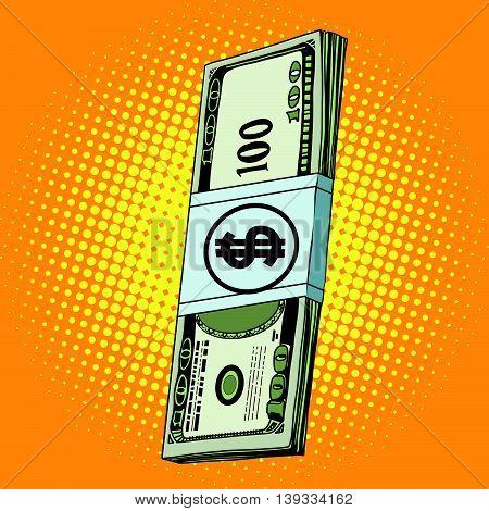 Money dollars cash pop art retro vector. Banknotes Finance