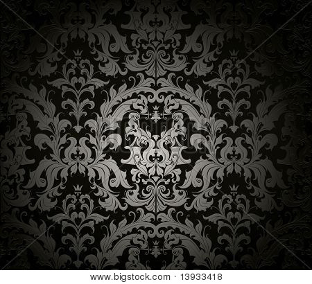 Patrón de papel tapiz transparente, negro