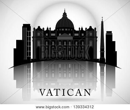 Modern Vatican City Skyline Design. Vector illustration.
