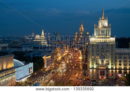 MOSCOW - MAY 23, 2016: Garden ring, Beijing Hotel, Theatre of Satire, Stalin skyscraper on Kudrinskaya Square at evening