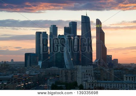 MOSCOW - MAY 4, 2016: Modern Moscow International Business Center during sunet. Investments in Moscow International Business Center was approximately 12 billion dollars