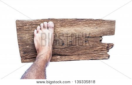 Feet on wooden floor white background .