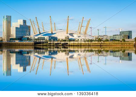 View of river Thames north Greenwich and O2 arena.