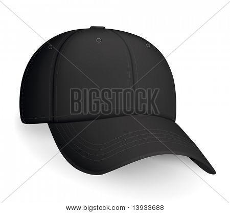 Black baseball cap, vector poster
