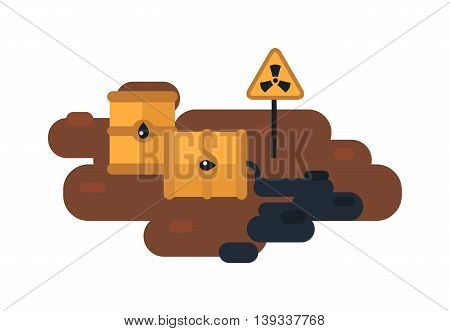 Plastic containers and garbage lying on chemical contaminated nuclear waste.
