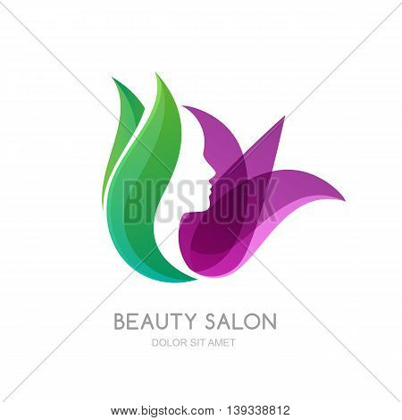 Female face on green leaves and lily flower background. Vector logo label emblem design elements. Womens profile and tulip flower. Concept for beauty salon massage cosmetic and spa.