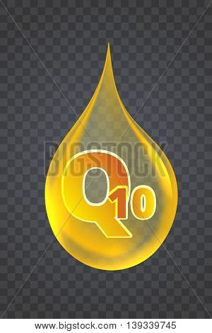 Coenzyme Q10. vector illustration of realistic drop oil icon isolated on transparent background.