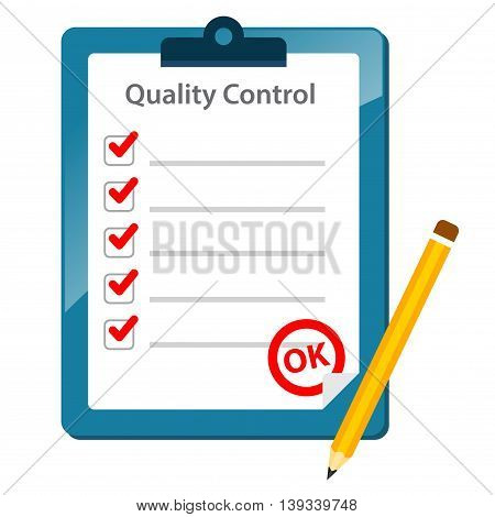 Vector stock of quality control check list paper with pencil on clipboard