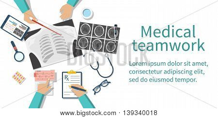 Medical team doctors at desktop. Diagnostic medical equipment. Research documents. Healthcare concept. Teamwork of doctors. Group surgeons. Flat design vector illustration. Banner web.