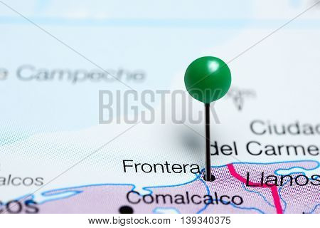 Frontera pinned on a map of Mexico