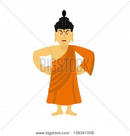 Angry Buddha Furious. Indian God Wrathful. Supreme Teacher For Buddhists. Holy Man In Orange Robes