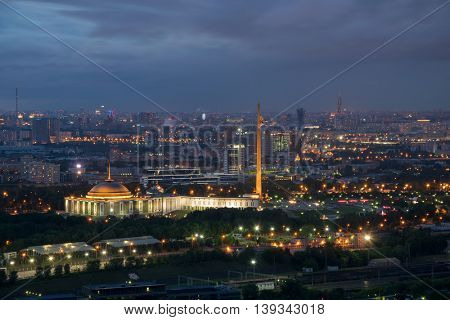Victory park on Poklonnaya hill with illumination at summer night in Moscow, Russia