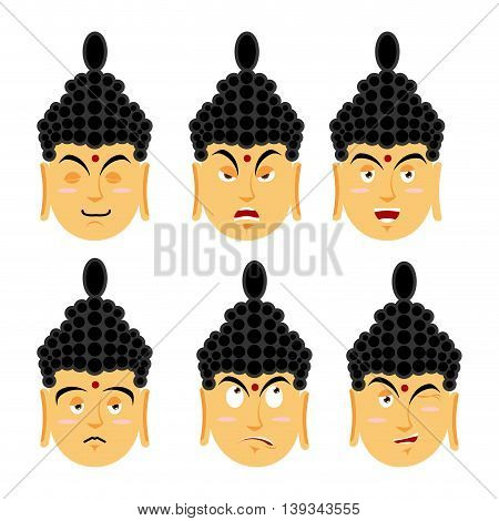 Emotions Buddha. Set Expressions Avatar Indian God. Good And Evil. Discouraged And Cheerful. Supreme