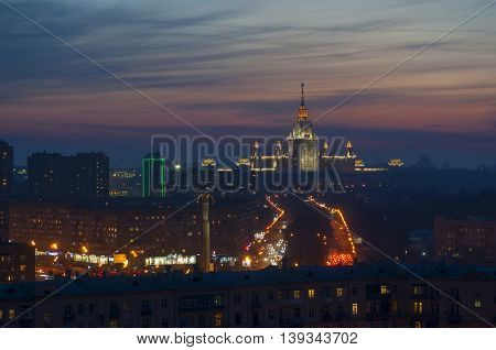 Gagarin monument and Moscow State University during sunset in Moscow, Russia