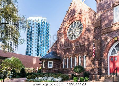 Downtown Charlotte, North Carolina - Historic Church and Urban office building