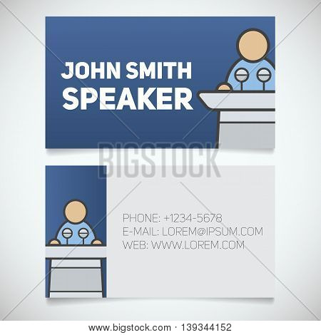 Business card print template with speaker logo. Orator. Stationery design concept. Vector illustration