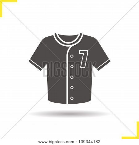 Baseball t-shirt icon. Negative space. Drop shadow silhouette symbol. Softball player's uniform shirt. Vector isolated illustration