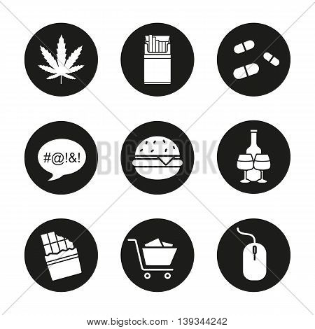 Addictions icons set. Smoking, drugs and food. Swearing, shopping and alcoholism. Marijuana, cigarettes and pills. Burger, chocolate, computer mouse. Vector white illustrations in black circles