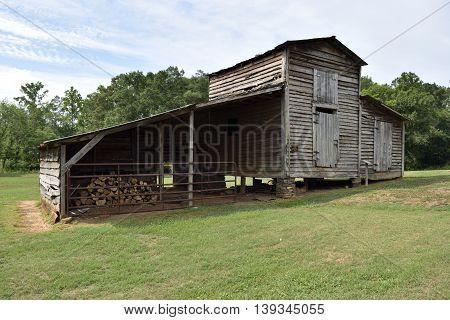 Vintage rustic barn shed background rural Georgia, USA