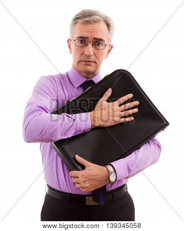 Businessman scared for briefcase and money, close up