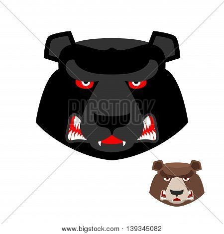 Angry Bear Head Logo. Aggressive Grizzly On White Background. Wild Evil Animal. Large Ferocious Pred