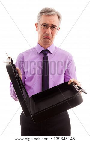 Senior unhappy businessman losing money, close up