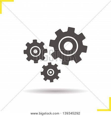 Cogwheels icon. Drop shadow gears silhouette symbol. Cogs. Negative space. Vector isolated illustration