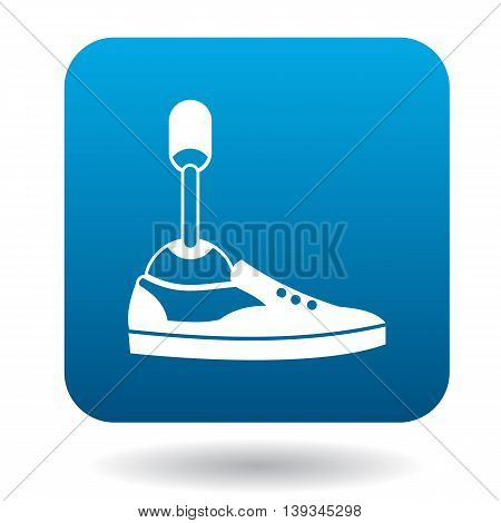 Leg prosthesis icon in simple style on a white background