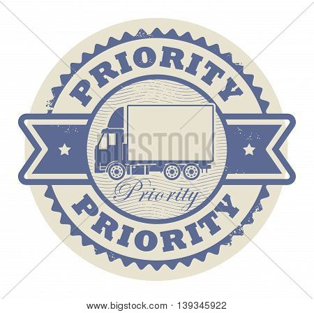 Grunge rubber stamp with a delivery car and the text Priority written inside the stamp, vector illustration