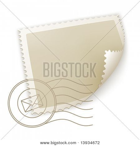 Blank Postage Stamp, vector poster