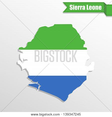 Sierra Leone map with flag inside and ribbon