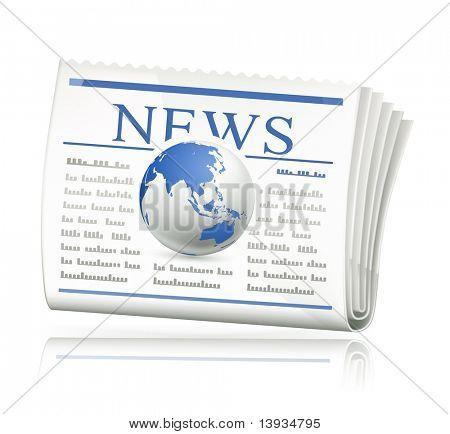 Noticias del mundo, icono de vector