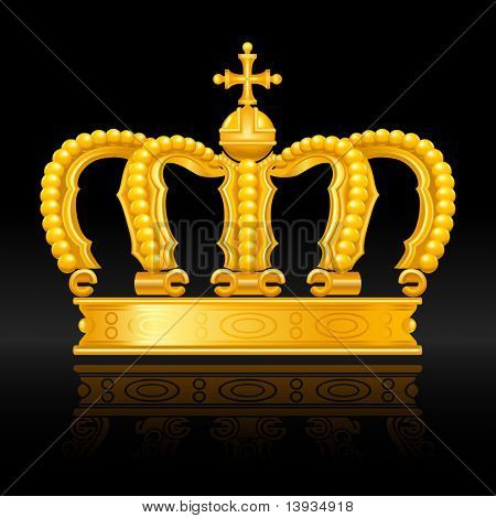 Crown gold on black, vector