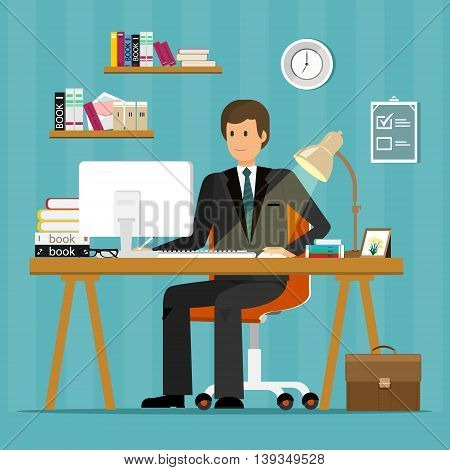 Vector flat character design of office worker. Businessman working, sitting at desk, looking at computer screen and writing.