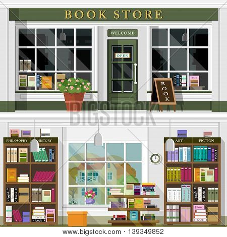 Set of vector detailed flat design bookstore facade. Cool graphic interior design for shop with books, shelves, places for reading. Flat style vector illustration