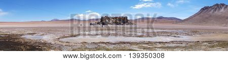 Panoramic view of the bolivian desert blue sky