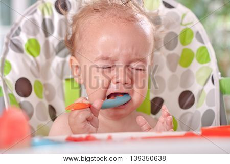 Angry sad disobedient baby child will not eat feeding problems