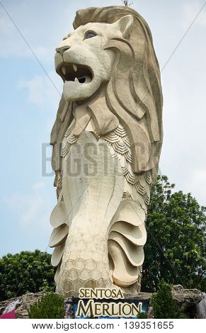 Singapore, Singapore - July 18, 2016: Merlion Sentosa,  the majestic Merlion is a Singapore icon attracting visitors from all around the world
