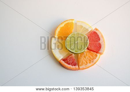 Different Citrus Sections Arranged In A Circle Shape