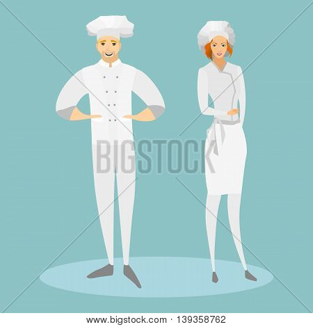 Cooks in special suits. A woman and a man cook cook. Vector illustration.