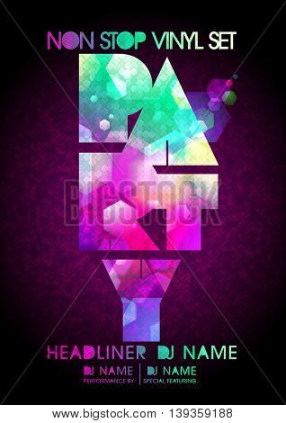 Non stop party design, modern polygon style, copy space for text