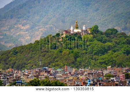 View on Swayambhunath from Kathmandu Durbar Square, Nepal