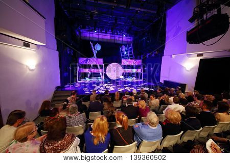 MOSCOW - APR 25, 2015: People before performance Saint-Exupery - Towards Stars by letters Consuelo and Antoine de Saint-Exupery, and fragments of Little Prince by Roman Viktyuk in theater of Vysotsky