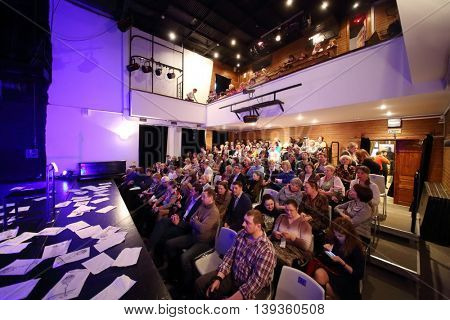 MOSCOW - APR 25, 2015: People wait for performance Saint-Exupery - Towards Stars by letters Consuelo and Antoine de Saint-Exupery and fragments of Little Prince by Roman Viktyuk in theater of Vysotsky