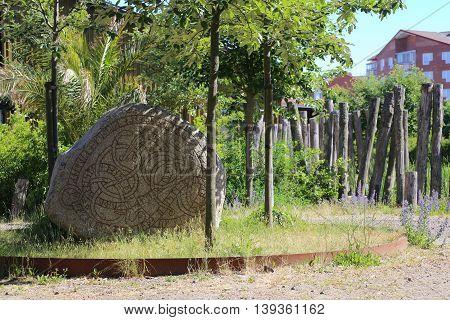 Historic Rune Stone At The Castle In Trelleborg, Sweden