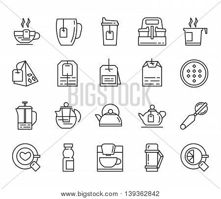 tea. set of linear icons on a white background