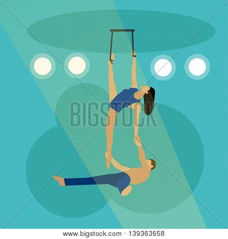 Circus concept vector banner. Acrobats and artists perform show in arena.