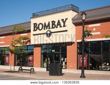 DARTMOUTH CANADA - JULY 20 2016: Bombay storefront. The Bombay Company specializes in furniture and home accessory retail. The company was founded in 1978.