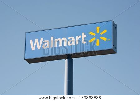 DARTMOUTH CANADA - JULY 20 2016: Walmart is an American corporation with chains of department and warehouse stores. Walmart has more than 11000 stores in 27 countries.